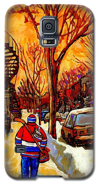 After The Hockey Game A Winter Walk At Sundown Montreal City Scene Painting  By Carole Spandau Galaxy S5 Case