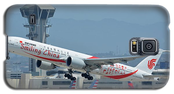 Galaxy S5 Case featuring the photograph Air China Boeing 777-39ler B-2035 Smiling China Los Angeles International Airport May 3 2016 by Brian Lockett