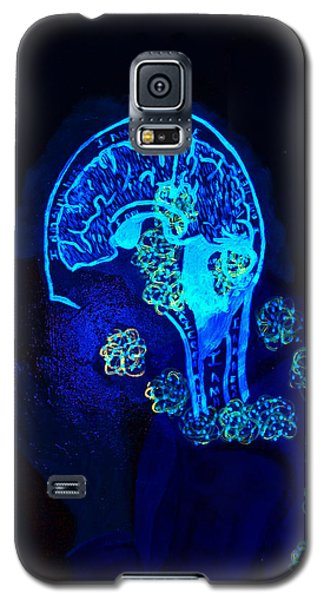 Galaxy S5 Case featuring the painting Al In The Mind Black Light View by Lisa Brandel