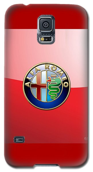 Alfa Romeo - 3d Badge On Red Galaxy S5 Case by Serge Averbukh