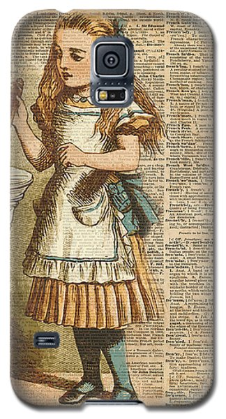 Card Galaxy S5 Case - Alice In Wonderland Drink Me Vintage Dictionary Art Illustration by Anna W