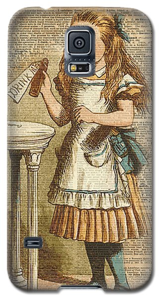 School Galaxy S5 Case - Alice In Wonderland Drink Me Vintage Dictionary Art Illustration by Anna W
