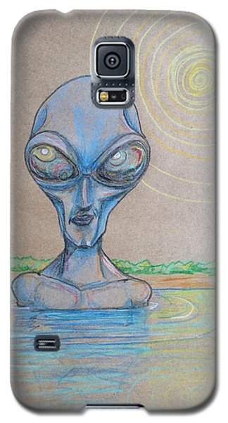 Galaxy S5 Case featuring the drawing Alien Submerged by Similar Alien