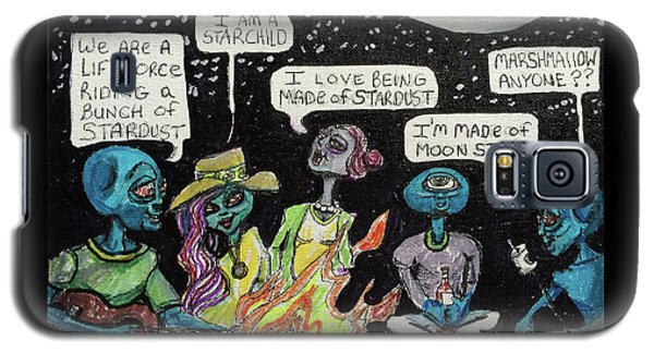 Galaxy S5 Case featuring the painting Aliens By The Campfire by Similar Alien