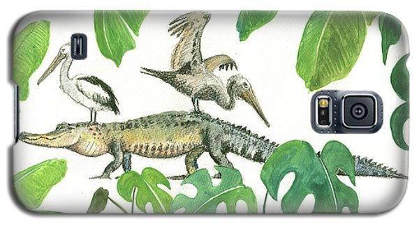 Alligator And Pelicans Galaxy S5 Case by Juan Bosco