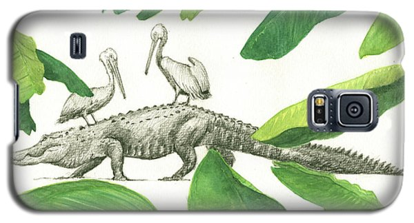 Alligator With Pelicans Galaxy S5 Case by Juan Bosco