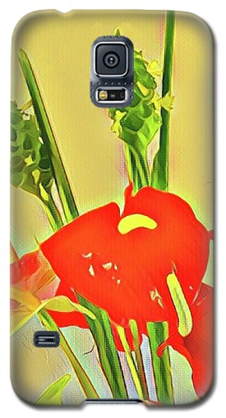 Aloha Bouquet Of The Day -- Red Anthuriums With Green Ginger, A Portion  Galaxy S5 Case