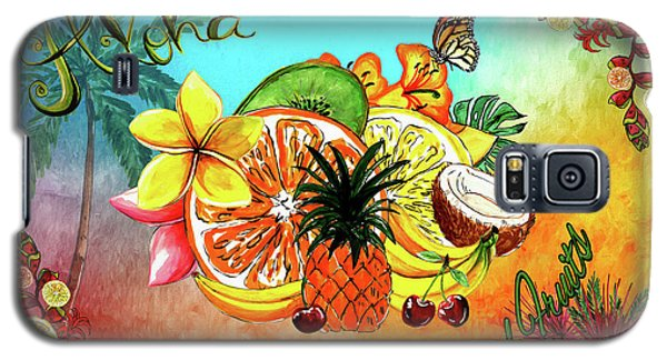 Galaxy S5 Case featuring the digital art Aloha Tropical Fruits By Kaye Menner by Kaye Menner