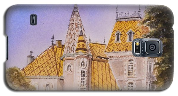 Galaxy S5 Case featuring the painting Aloxe Corton Chateau Jaune by Mary Ellen Mueller Legault