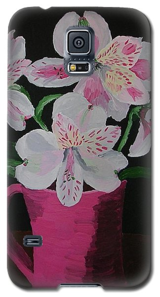 Galaxy S5 Case featuring the painting Alstroemeria In Mug by Joshua Redman
