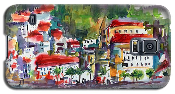 Galaxy S5 Case featuring the painting Amalfi Coast Italy Expressive Watercolor by Ginette Callaway