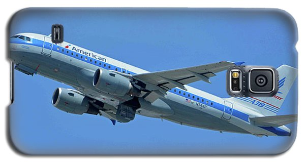 Galaxy S5 Case featuring the photograph American Airbus A319-0112 N744p Piedmont Pacemaker Los Angeles International Airport May 3 20 by Brian Lockett