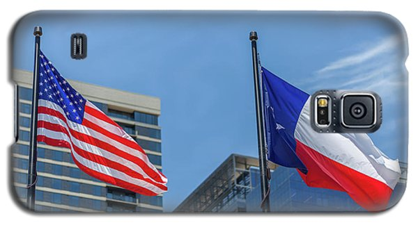 American And Texas Flag On Top Of The Pole Galaxy S5 Case