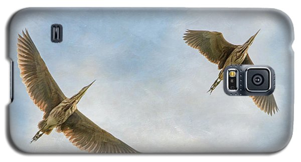 Galaxy S5 Case featuring the photograph American Bitterns In Flight by Angie Vogel