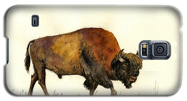 Bison Galaxy S5 Case - American Buffalo Watercolor by Juan  Bosco