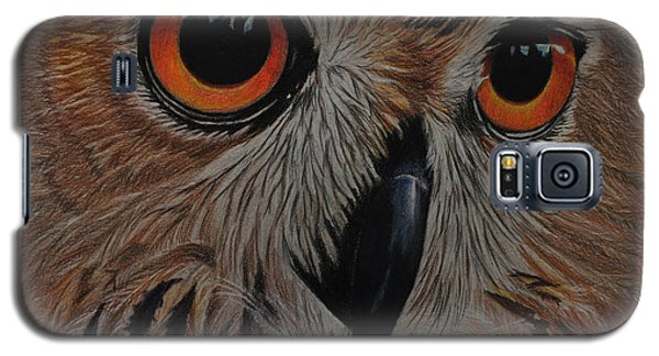 Galaxy S5 Case featuring the drawing American Eagle Owl by Jo Baner