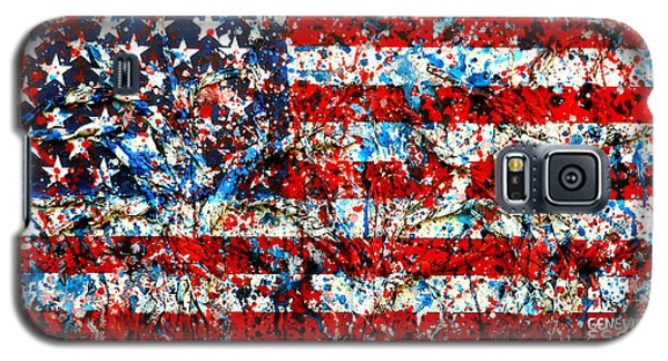 Galaxy S5 Case featuring the painting American Flag Abstract With Trees by Genevieve Esson
