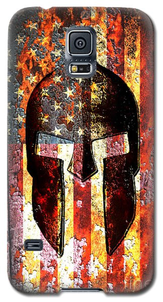 American Flag And Spartan Helmet On Rusted Metal Door - Molon Labe Galaxy S5 Case