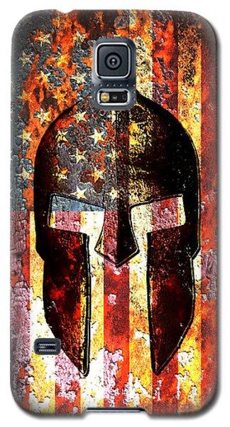 American Flag And Spartan Helmet On Rusted Metal Door - Molon Labe Galaxy S5 Case