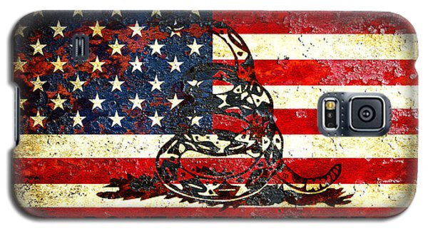 American Flag And Viper On Rusted Metal Door - Don't Tread On Me Galaxy S5 Case