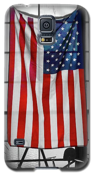 Galaxy S5 Case featuring the photograph American Flag In The Window by Mike McGlothlen