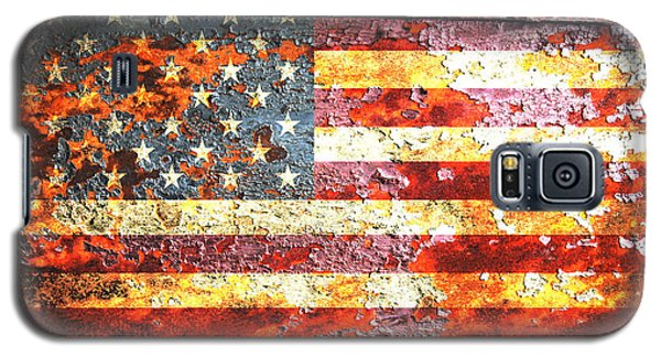 American Flag On Rusted Riveted Metal Door Galaxy S5 Case