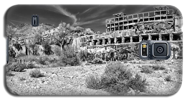 Galaxy S5 Case featuring the photograph American Flat Mill Virginia City Nevada Panoramic Monochrome by Scott McGuire