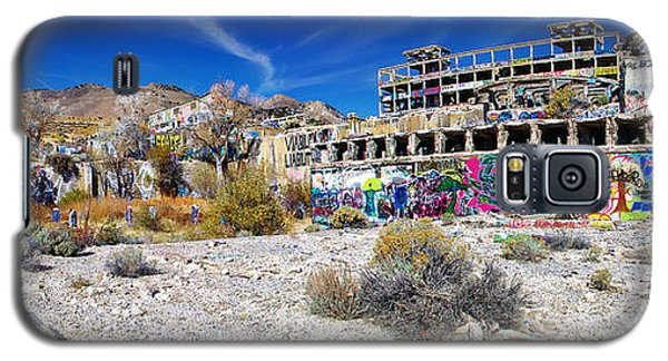 Galaxy S5 Case featuring the photograph American Flat Mill Virginia City Nevada Panoramic by Scott McGuire
