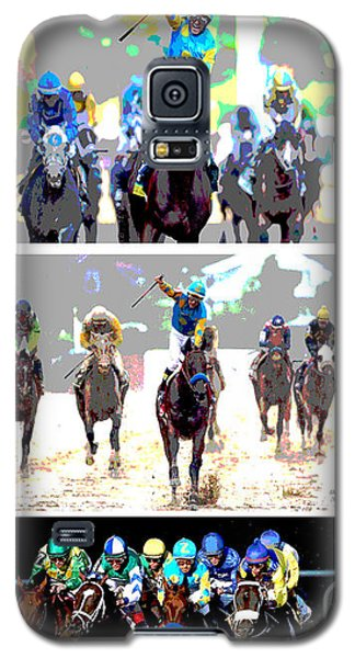 Galaxy S5 Case featuring the mixed media American Pharoah by Charles Shoup