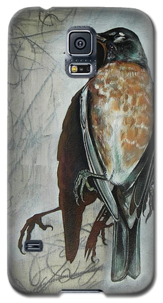 Galaxy S5 Case featuring the mixed media American Robin by Sheri Howe