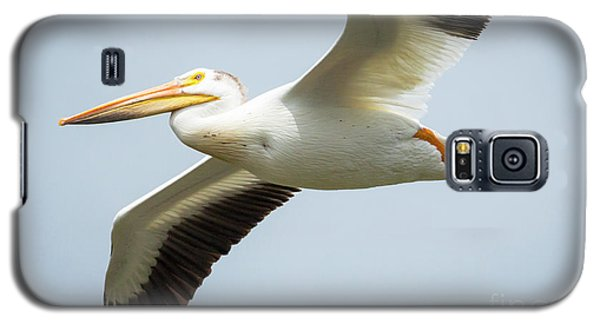 Galaxy S5 Case featuring the photograph  American White Pelican Flyby  by Ricky L Jones