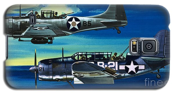 American Ww2 Planes Douglas Sbd1 Dauntless And Curtiss Sb2c1 Helldiver Galaxy S5 Case by Wilf Hardy