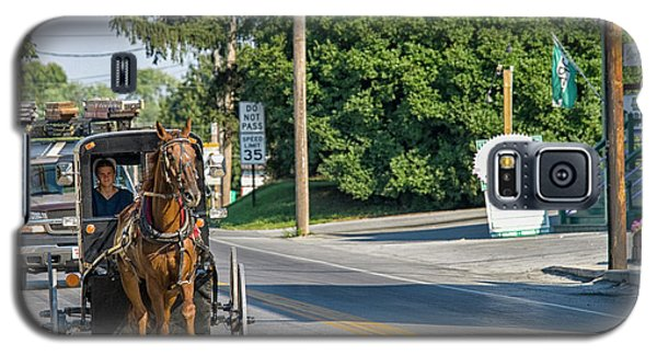Galaxy S5 Case featuring the photograph Amish Girl On The Road by Patricia Hofmeester