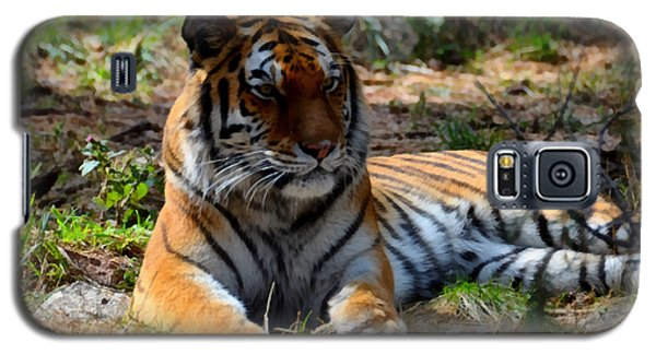 Galaxy S5 Case featuring the mixed media Amur Tiger 1 by Angelina Vick