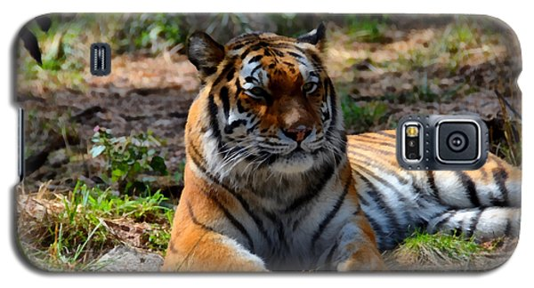 Galaxy S5 Case featuring the mixed media Amur Tiger 10 by Angelina Vick