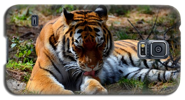 Galaxy S5 Case featuring the mixed media Amur Tiger 2 by Angelina Vick