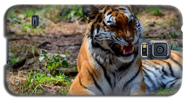 Galaxy S5 Case featuring the mixed media Amur Tiger 3 by Angelina Vick