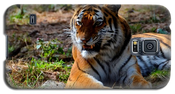 Galaxy S5 Case featuring the mixed media Amur Tiger 5 by Angelina Vick