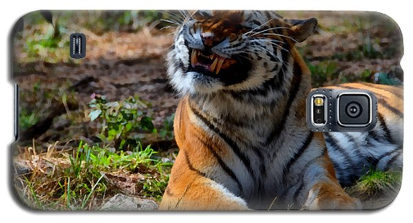 Galaxy S5 Case featuring the mixed media Amur Tiger 6 by Angelina Vick