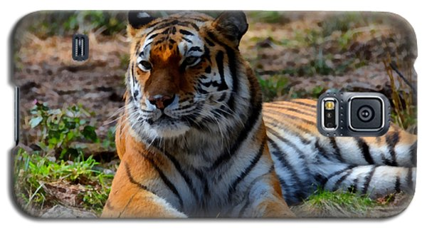 Galaxy S5 Case featuring the mixed media Amur Tiger 8 by Angelina Vick