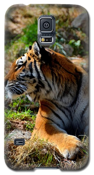 Galaxy S5 Case featuring the mixed media Amur Tiger 9 by Angelina Vick