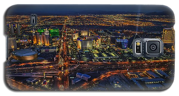 Galaxy S5 Case featuring the photograph An Aerial View Of The Las Vegas Strip by Roman Kurywczak