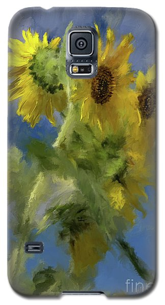 Galaxy S5 Case featuring the photograph An Impression Of Sunflowers In The Sun by Lois Bryan