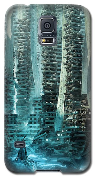 Galaxy S5 Case featuring the digital art Ancient Library V1 by Te Hu