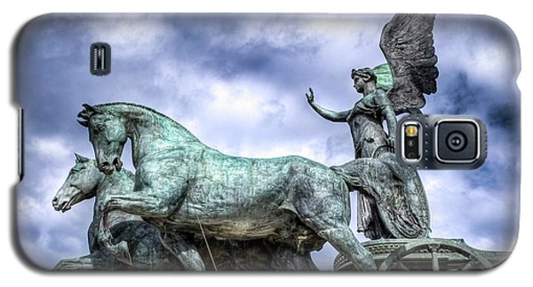 Galaxy S5 Case featuring the photograph Angel And Chariot With Horses by Sonny Marcyan