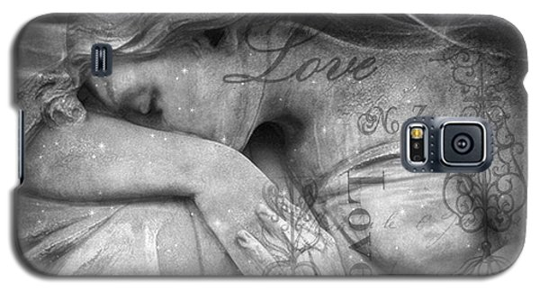 Galaxy S5 Case featuring the photograph Angel In Mourning - Angel Crying Sad Cemetery Mourner At Grave - Angel Love Script Valentine Print by Kathy Fornal