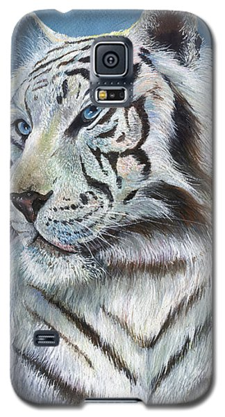 Galaxy S5 Case featuring the painting Angel The White Tiger by Sherry Shipley
