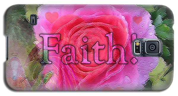 Galaxy S5 Case featuring the photograph Angels Pink Rose Of Faith by Barbara Tristan
