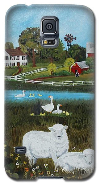 Galaxy S5 Case featuring the painting Animal Farm by Virginia Coyle