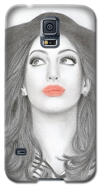Galaxy S5 Case featuring the drawing Anne Hathaway by Eliza Lo